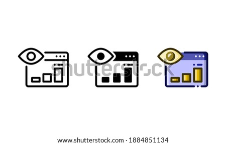 Web visibility icon. With outline, glyph, and filled outline styles Photo stock ©