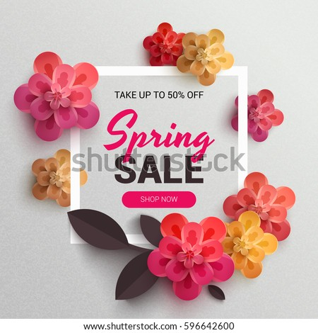 Web Wanner with red paper flowers for spring sales. Vector illustration of realistic flowers, can be used in the magazine, online,  store leaflets