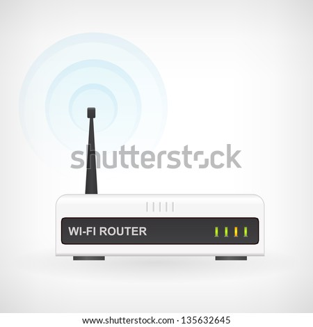 Web waves wireless wi-fi router modem vector icon