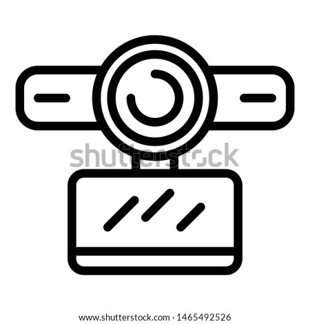 Webcam with stereo microphone icon. Outline webcam with stereo microphone vector icon for web design isolated on white background