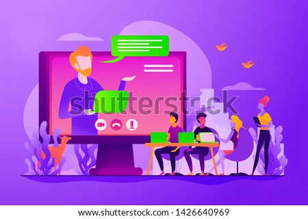 Webinar and employees training. Distance education, video tutorial. Online business conference, meeting and negotiations, partners agreement concept. Vector isolated concept creative illustration