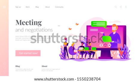 Webinar and employees training. Distance education, video tutorial. Online business conference, meeting and negotiations, partners agreement concept. Website homepage header landing web page template.