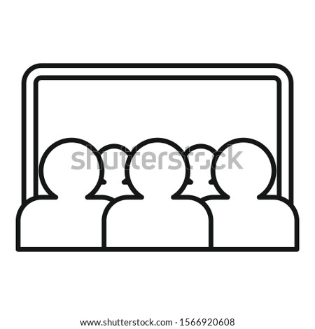 Webinar audience icon. Outline webinar audience vector icon for web design isolated on white background