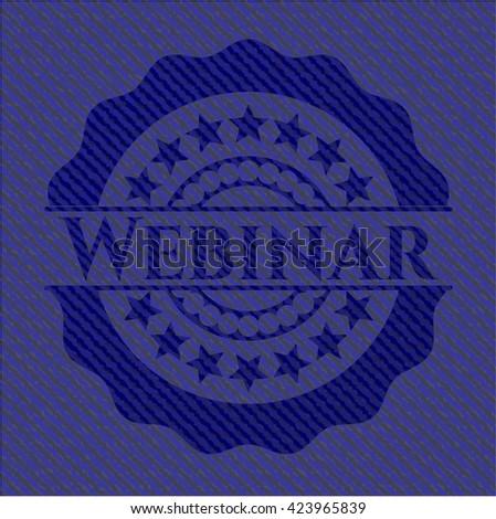 Webinar badge with denim background