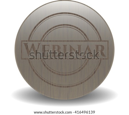 Webinar badge with wooden background