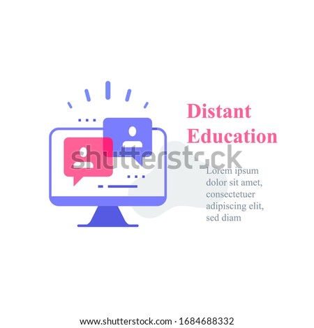 Webinar concept, online course, distant education, video lecture, internet group conference, training test, work from home, easy communication, vector icon