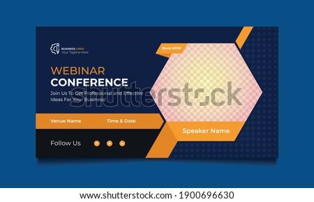 Webinar conference web banner or social media horizontal banner design. online Business invitation or live conference banner design.