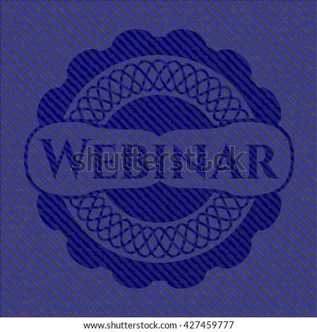 Webinar emblem with denim texture
