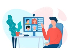 Webinar, online meeting concept vector illustration. Home office, web conference with colleagues and friends.