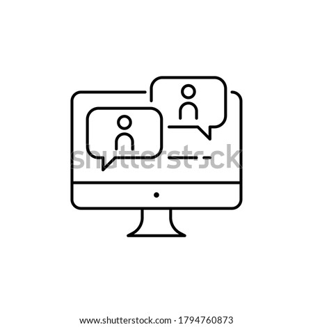 Webinar, online meeting education. Monitor screen with discussion dialog  symbol for Virtual classroom on streaming in web or application. Line Vector illustration. Design on white background. EPS 10