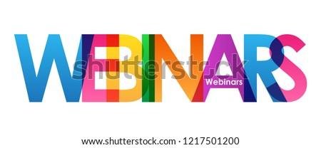 WEBINARS colorful letters banner