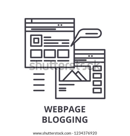 Webpage blogging line icon concept. Webpage blogging vector linear illustration, symbol, sign
