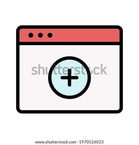 Webpage, browser, add, plus icon vector image. Can also be used for Webpages. Suitable for use on web apps, mobile apps and print media.