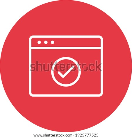 Webpage, browser, check, done icon vector image. Can also be used for Webpages. Suitable for use on web apps, mobile apps and print media. Stock photo ©