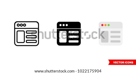 Webpage icon of 3 types: color, black and white, outline. Isolated vector sign symbol.