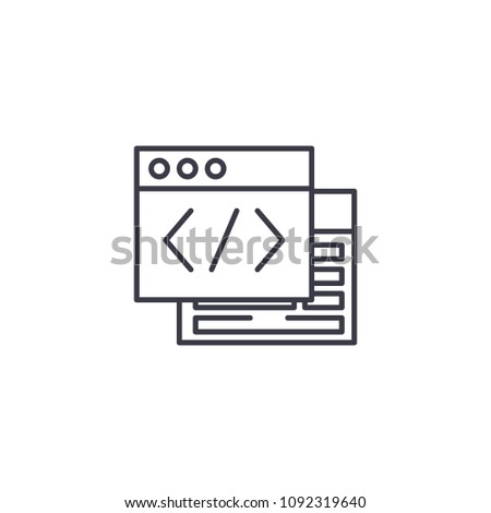 Webpage source linear icon concept. Webpage source line vector sign, symbol, illustration.
