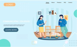 Website about communication of colleagues. Mother and father are watching at sleeping baby. Business people relaxing in apartment. Characters are talking about work. Family spending time at home