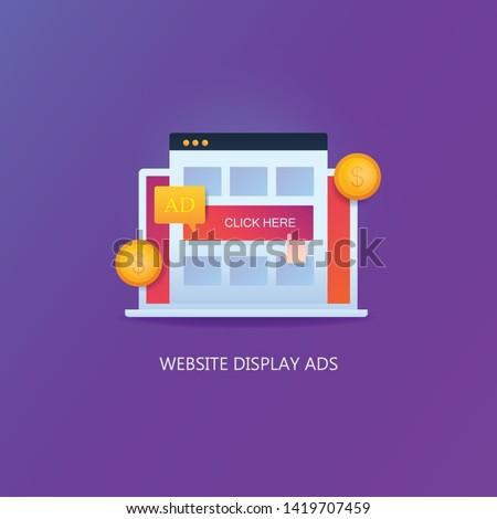 Website Advertising, Online Ads, Digital Ads - vector illustration