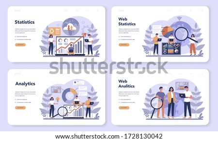 Website analysis concept web banner or landing page set. Web page improvement for business promotion as a part of marketing strategy. Website analysis to get data for SEO. Isolated flat illustration