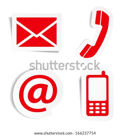 Website and Internet contact us red icons set and design symbols on stickers with shadow. EPS10 vector illustration isolated on white background.