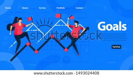 Website and landing page template for business. motivation to achieve higher goals and achieving a chart increase in corporate finance. Vector Illustration For Web, Landing Page, Banner, Mobile Apps