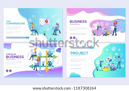 Website and mobile website development illustration concepts. Set of project workflow, business communication, and consulting management design. Modern vector web page - Shutterstock ID 1187308264