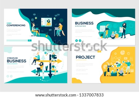 Website and mobile website development illustration concepts. Set of project workflow, business communication, and consulting management design. Modern vector web page