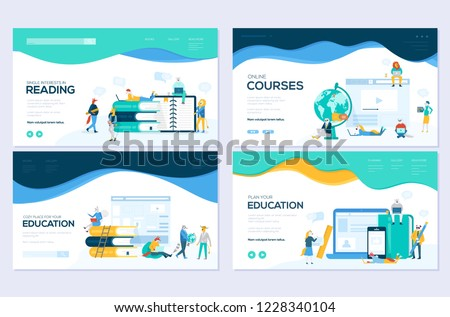 Website and mobile website development illustration concepts. Set of web page design templates for online courses, distance education,  e-learning, tutorials. Modern vector web page