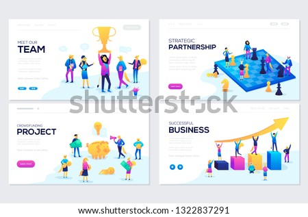 Website and mobile website development illustration concepts. Set of web page design templates for our team, meeting and brainstorming, business success, strategic partnership, crowdfunding
