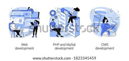Website architecture abstract concept vector illustration set. Web development, PHP and MySql, CMS content management system, interface design, software testing, application coding abstract metaphor.