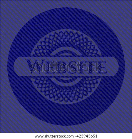 Website badge with denim background