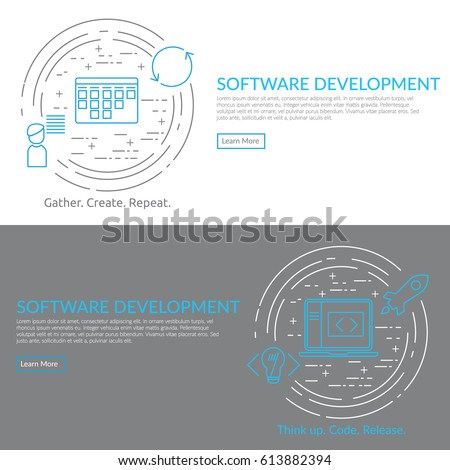 Website banner and flyer template on white background with blue agile software development line icons such as: scrum task board, release, coding, user story, laptop and other agile icons