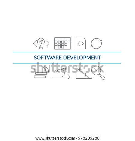 Website banner and flyer template on white background with grey agile software development line icons such as: scrum task board, coding, testing, task prioritize, agile process and other agile icons