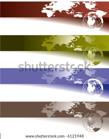 Website banner backgrounds. Four vector corporate technology site website banner backgrounds
