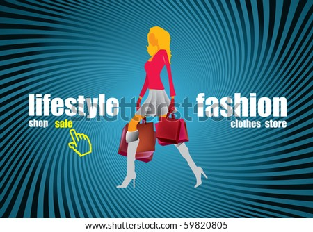 Website banner with shopping girl - stock vector