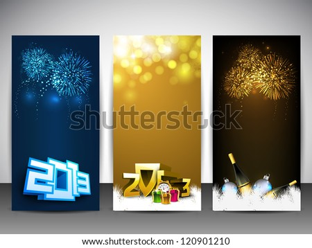 Website banners set for Happy New Year. EPS 10 - stock vector
