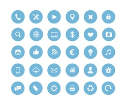 Website blue round vector icons set
