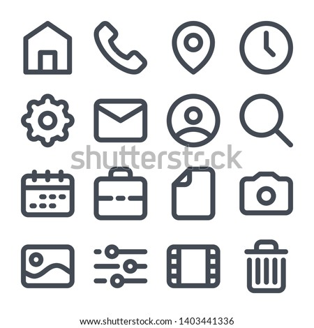 Website bold line icons. Navigation icons for mobile application.
