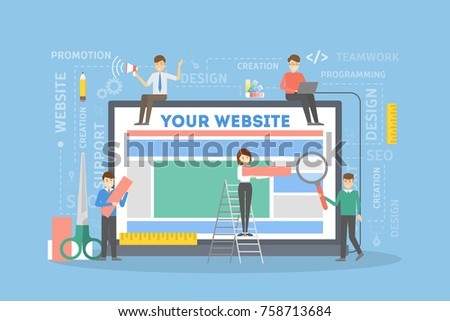 Website building illustration. People carrying blocks and tools creating website.
