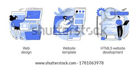 Website building service abstract concept vector illustration set. Web design, website template, HTML5 development, landing page, interface, user experience, constructor platform abstract metaphor.