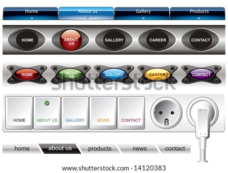 Website button bars set template - stock vector