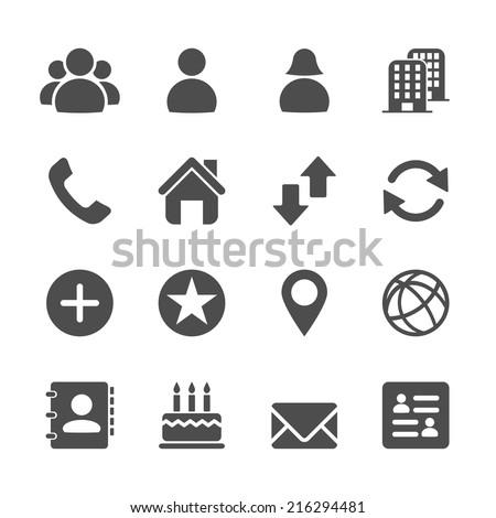 website contact icon set, vector eps10.