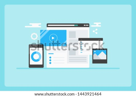 Website content management, CMS, Digital content, Business solution - flat design vector banner on blue background