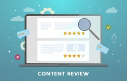 Website Content Review concept. Feedback, audience engagement, content reviews and rating and communication. Creative writing for blog, copywriting for web site articles with stars rating.