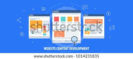 Website content, web content development, Digital content, video, text format flat vector concept