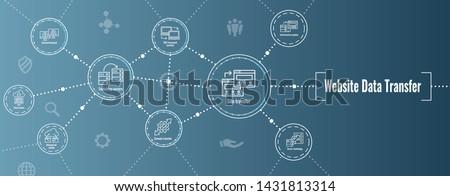 Website Data Transfer Icon Set & Web Header Banner