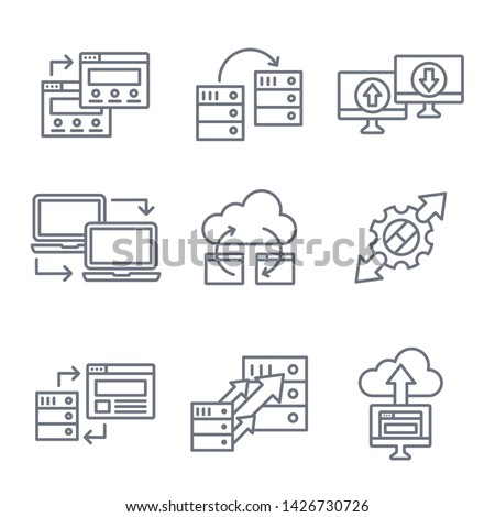 Website Data Transfer Icon Set with laptops, arrows, and imagery of transfer