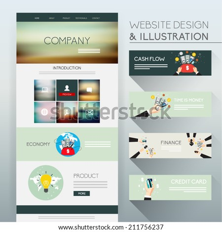 Website Design and Illustration Vector Design