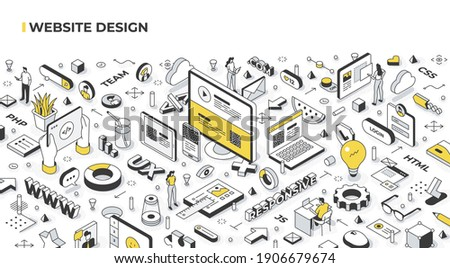 Website design concept. Cross-platform development of landing page. Responsive webpage layout on a desktop computer, laptop, tablet, and mobile phone. Coding and programming user interface
