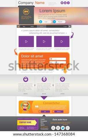 Website design, homepage template. Vector illustration